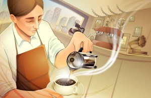 Interview with illustrator Charlene Chua Illustration for Tully's Coffee packaging.