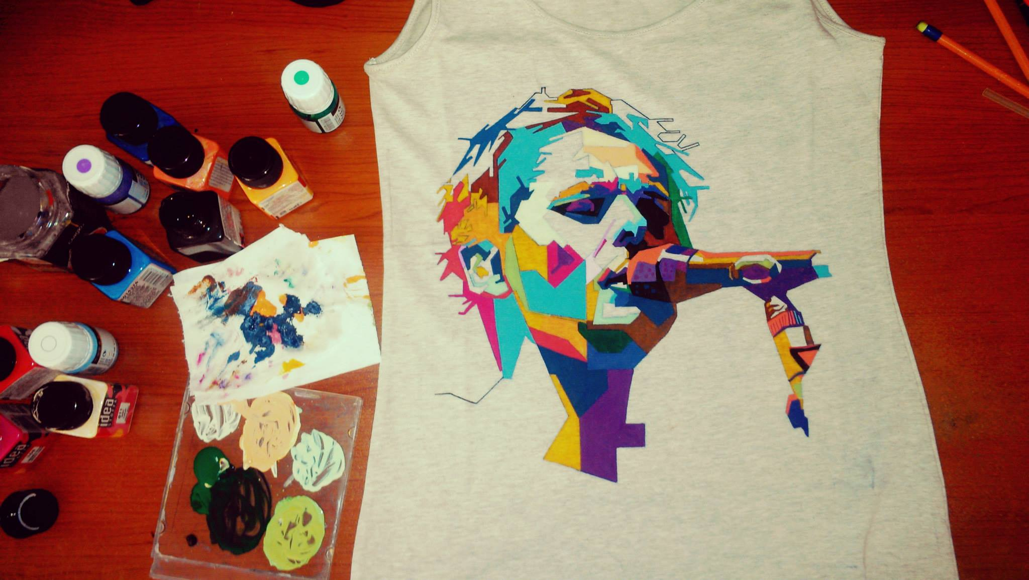 Cool hand painted t shirts by trois tone interview with for How to paint on t shirt