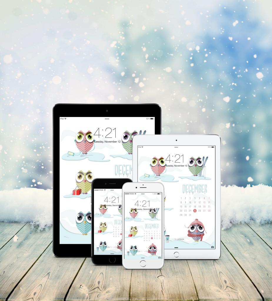 iPhone iPad December Owls wallpaper calendar design