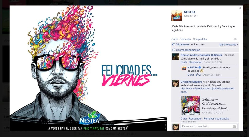 Nestle steals illustration and uses it on their Facebook page